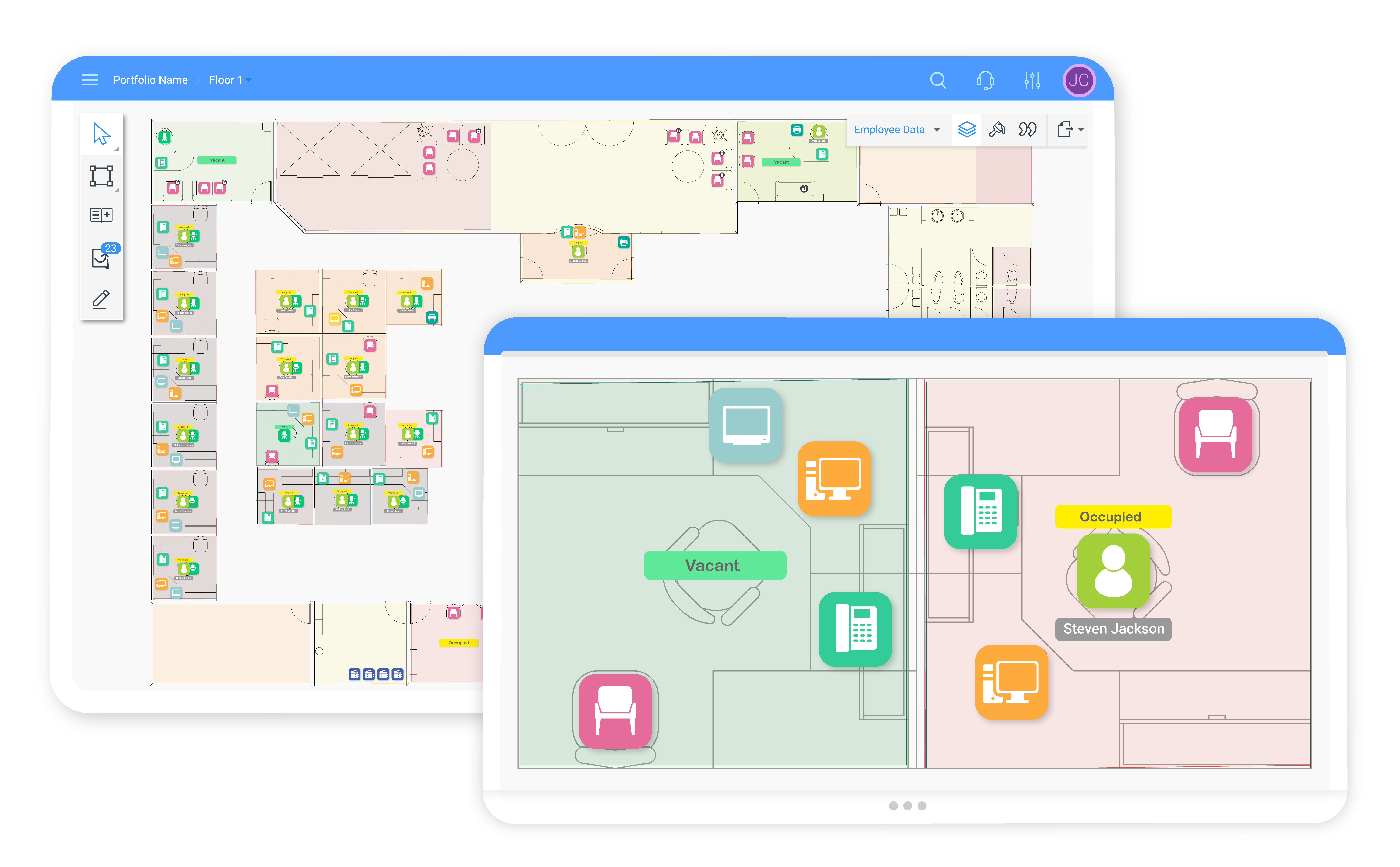 Drag and drop data-driven icons on interactive floor plans to easily plan the layout of people and assets.
