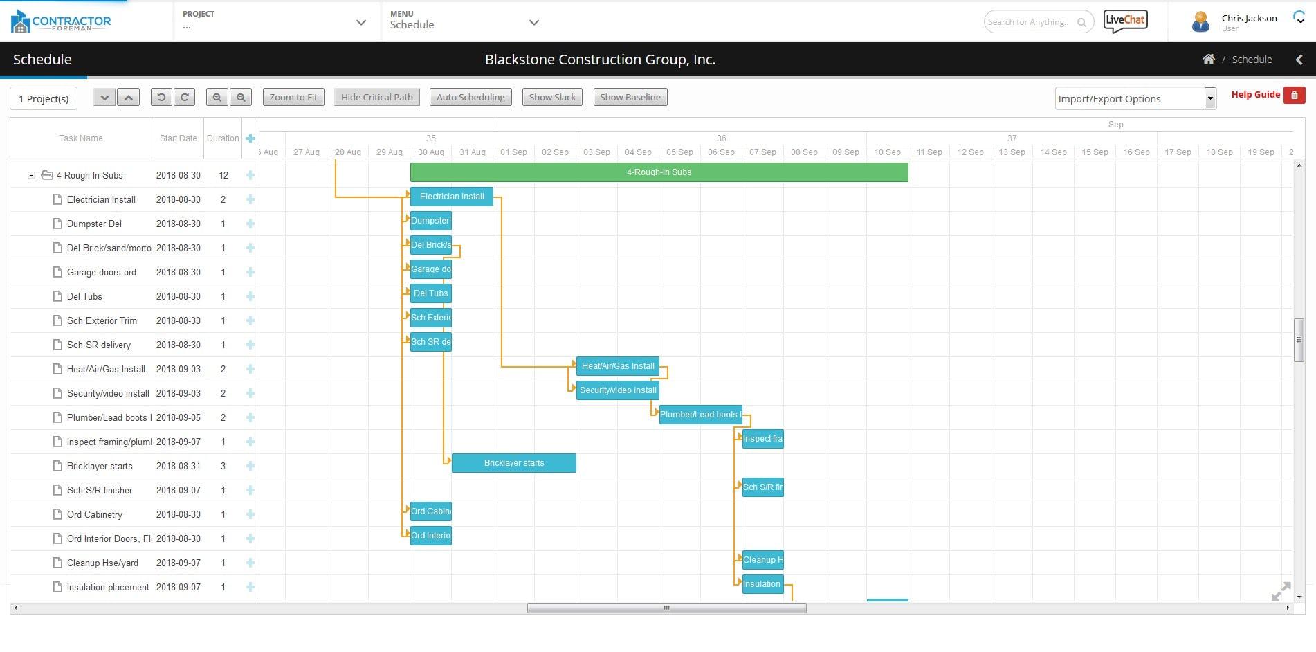 Contractor Foreman Software - Schedule