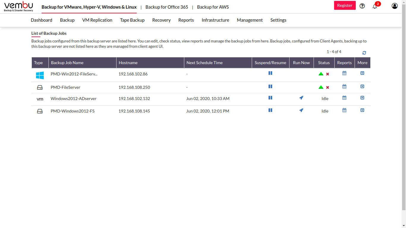 Vembu BDR Suite backup job list