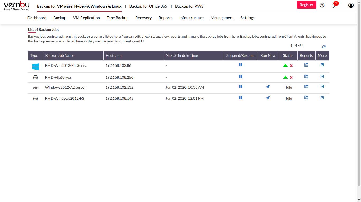 Vembu BDR Software - Vembu BDR Suite backup job list