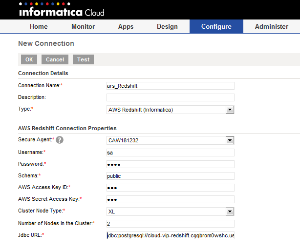 Informatica Intelligent Cloud Services screenshot: Creating a new connection in Informatica Cloud Integration