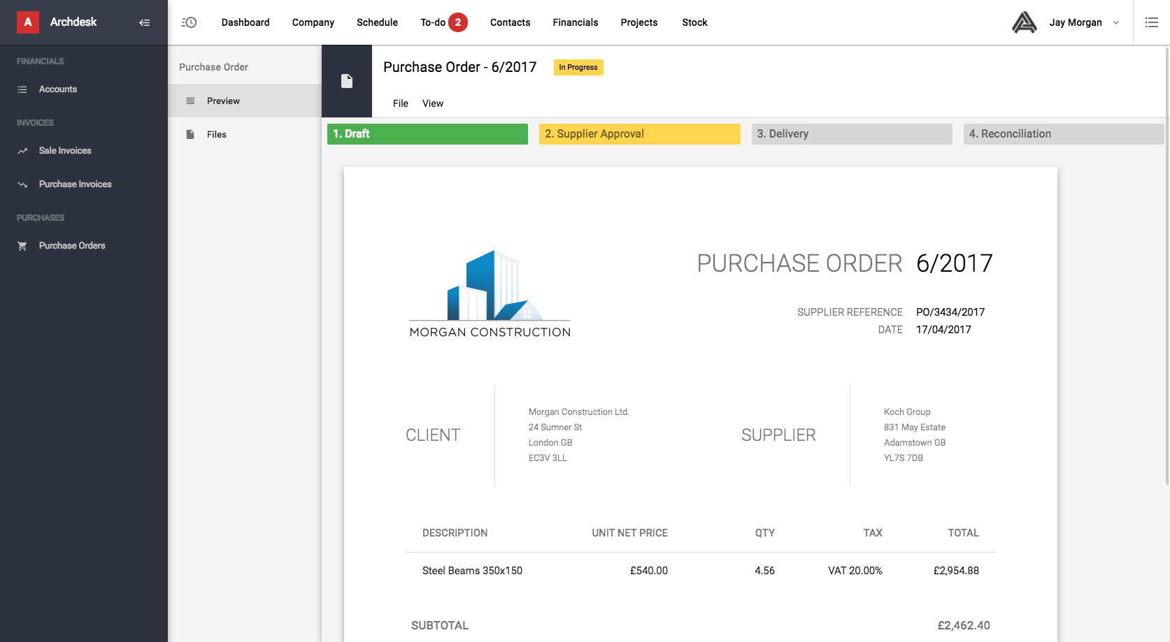 Archdesk purchase orders screenshot
