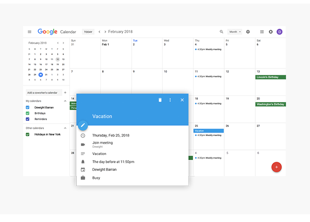 Calendar integration allows users to push leaves to their Google, Apple or Outlook calendar