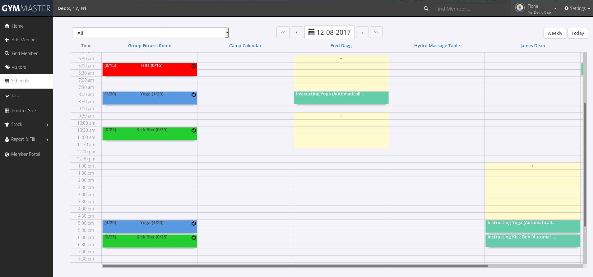 The calendar is easy to use and customisable, with multiple views organised by resource.