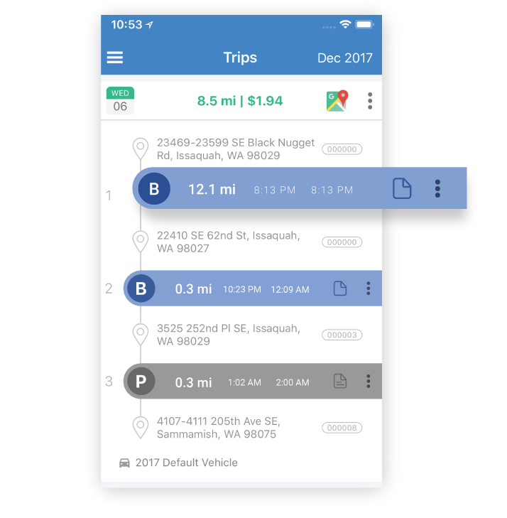 Managers can view all trips that were carried out in a day by each employee, and the time taken for each trip