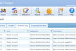 Church Office Online screenshot: Users can view a full activity log in Church Office Online's dashboard