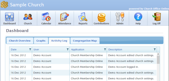 Users can view a full activity log in Church Office Online's dashboard