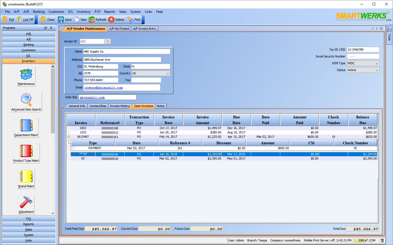 Smartwerks Software - A/P vendor maintenance