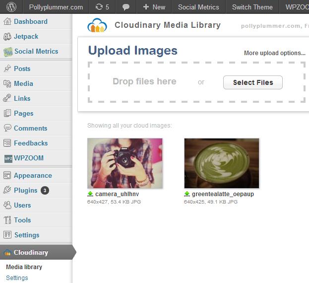 Cloudinary screenshot: Cloudinary and WordPress integration