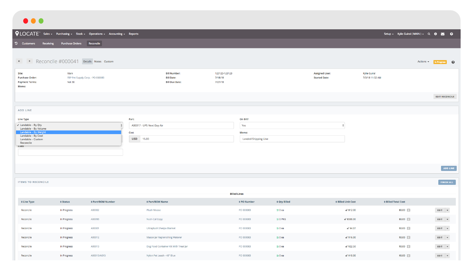 Reconcile bills and even distribute landed costs across PO lines within LOCATE's dedicated Reconciliation module