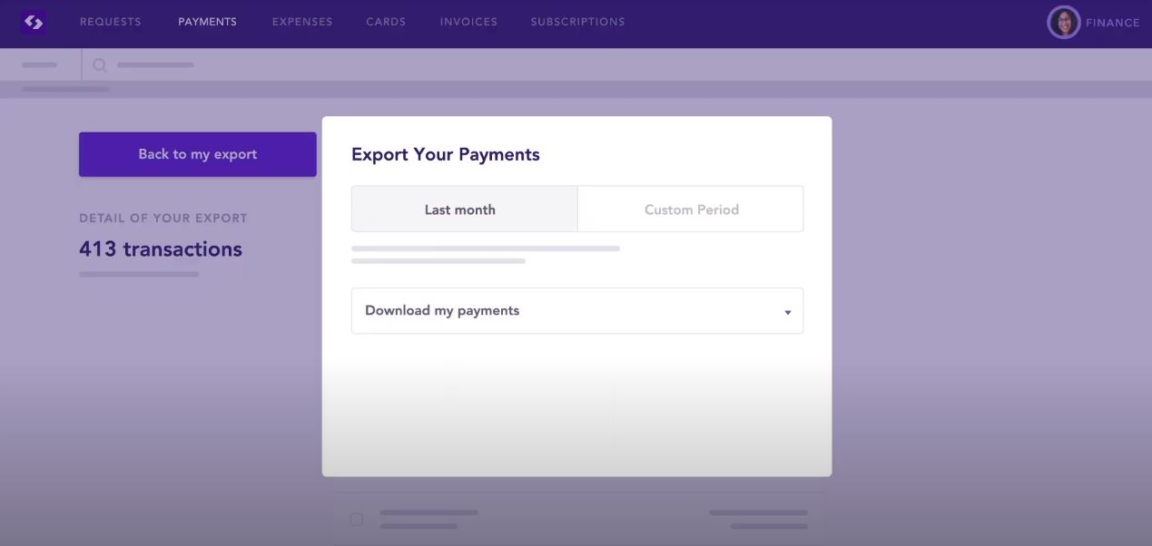 Spendesk export payments