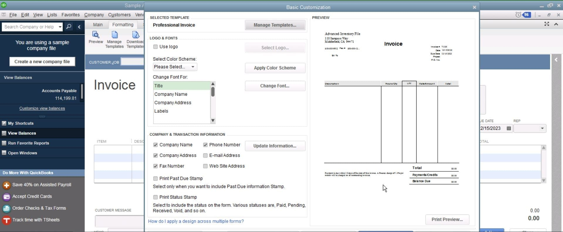 QuickBooks Enterprise Invoices