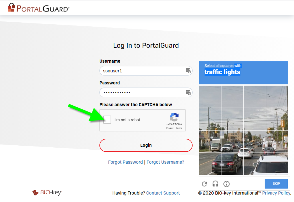 Login to PortalGuard with CAPTCHA