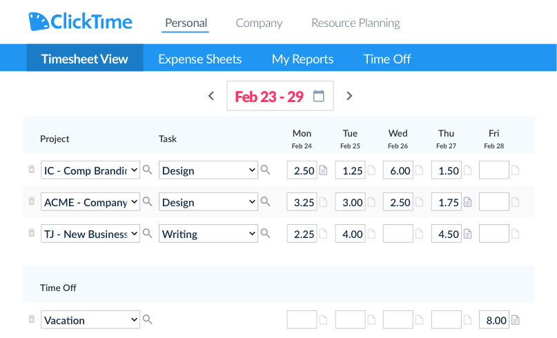 Clicktime Timesheet View