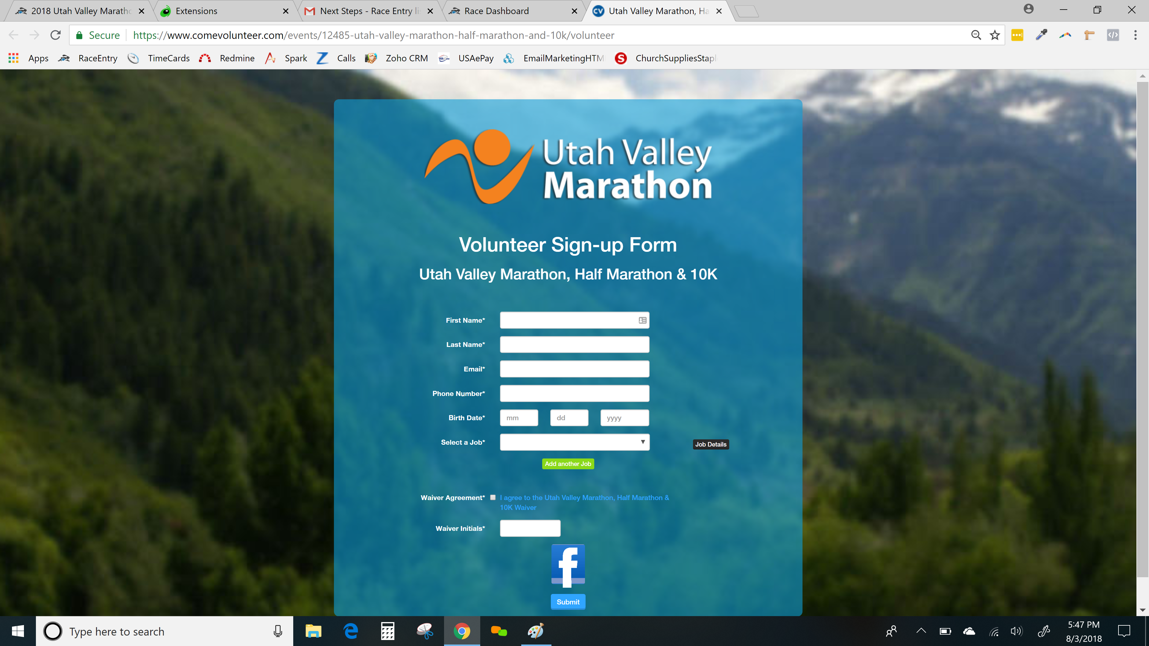 Volunteer registration page