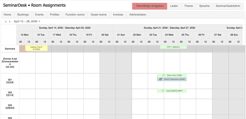 SeminarDesk room assignment calendar