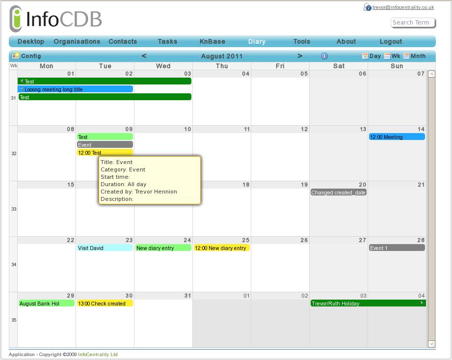 InfoCDB Diary - month view