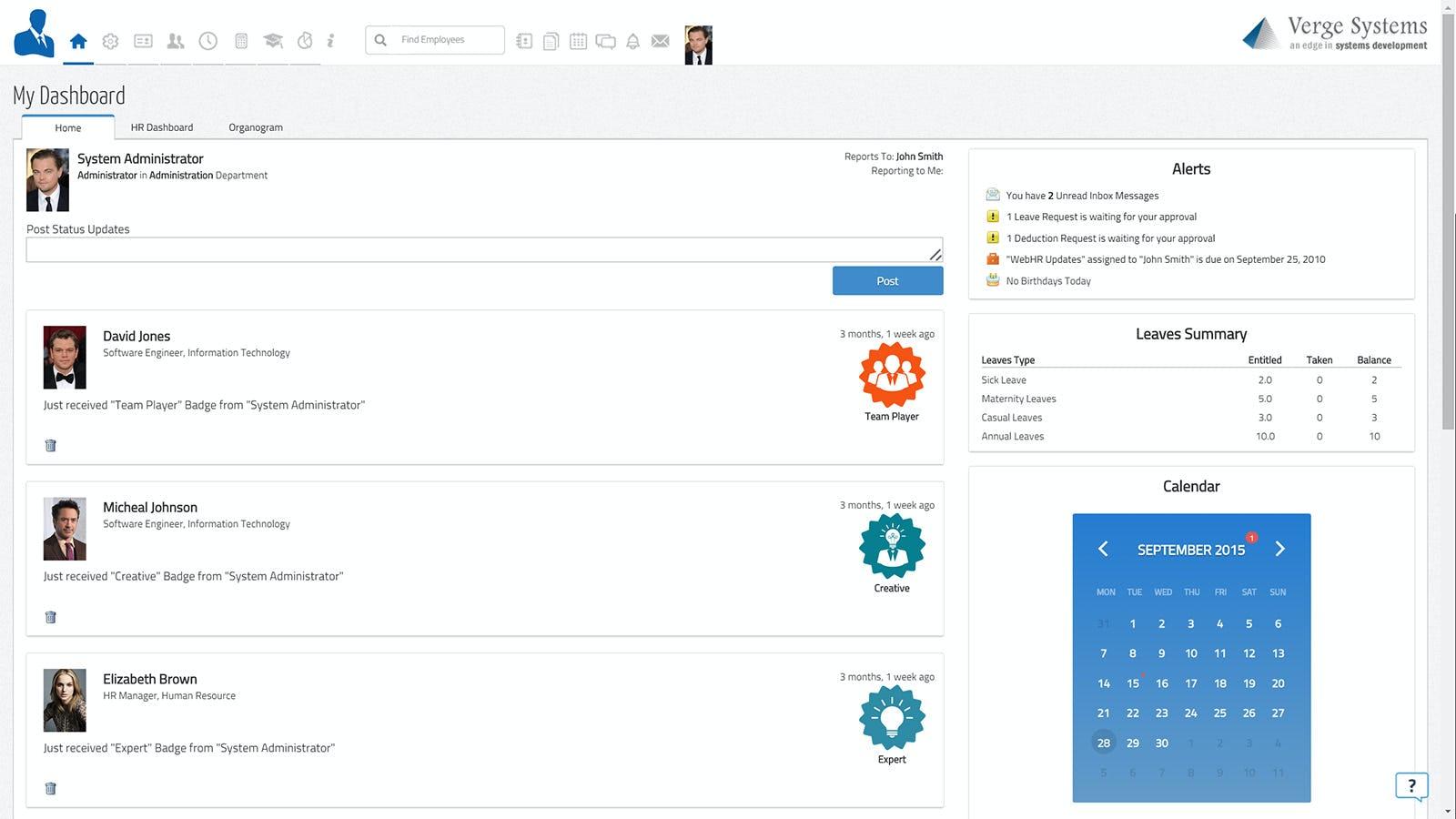 WebHR Software - My Dashboard