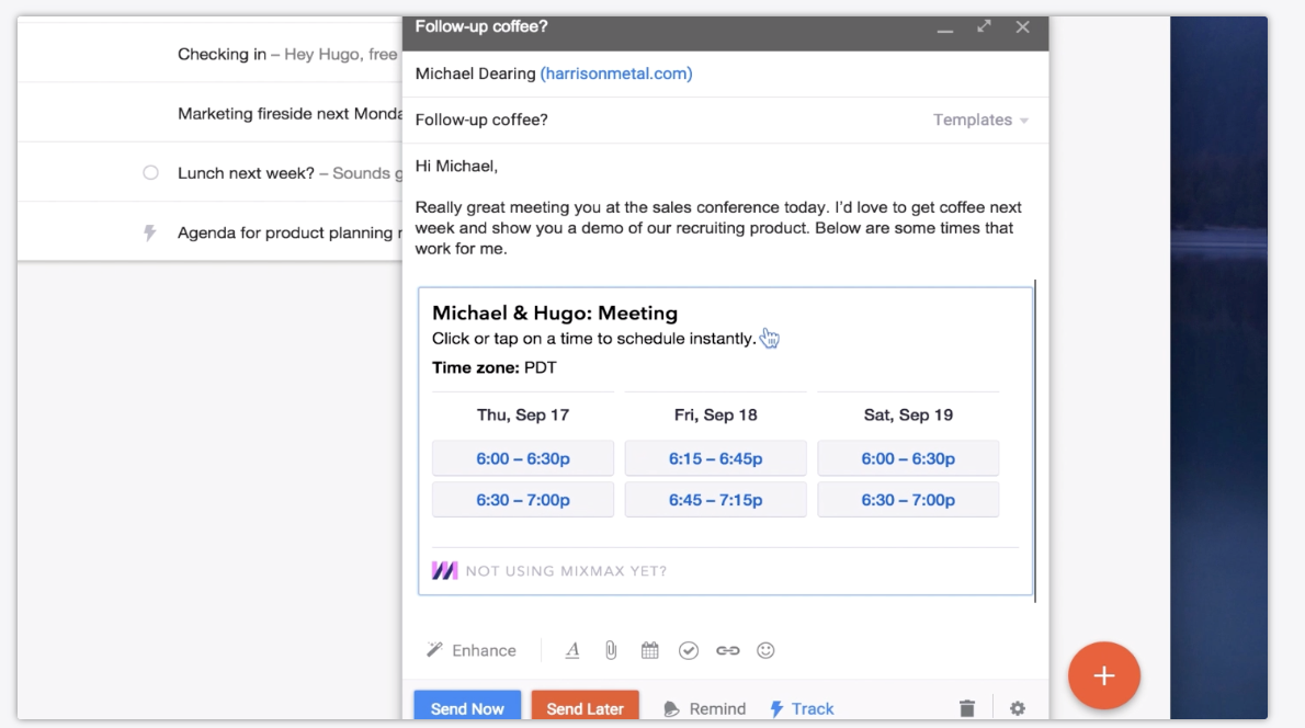 Users can schedule meetings in one email by sharing their availability, then allowing recipients to select their preferred time slot