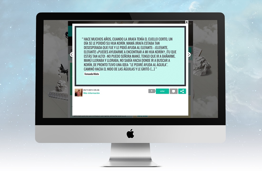 Writing-based contests: present the stories in a very visual and attractive way by using the tiled gallery layout.