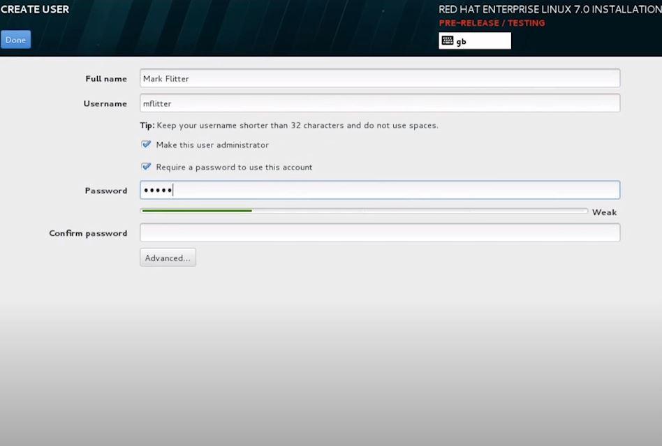 Red Hat Enterprise Linux create user