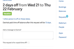 Bindle screenshot: When viewing a time-off request in Bindle, approvers are shown how many other employees are off on those dates.