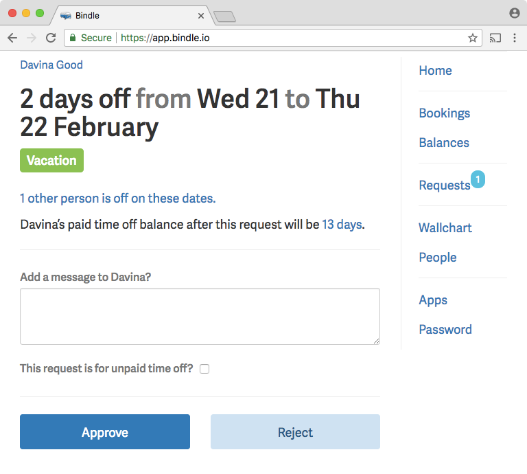 When viewing a time-off request in Bindle, approvers are shown how many other employees are off on those dates.