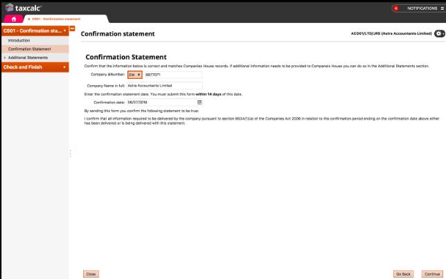 TaxCalc screenshot: TaxCalc confirmation statement