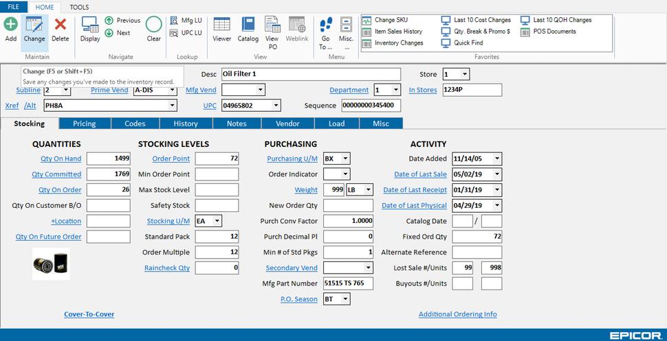 Epicor Eagle for Automotive screenshot: Epicor Eagle inventory
