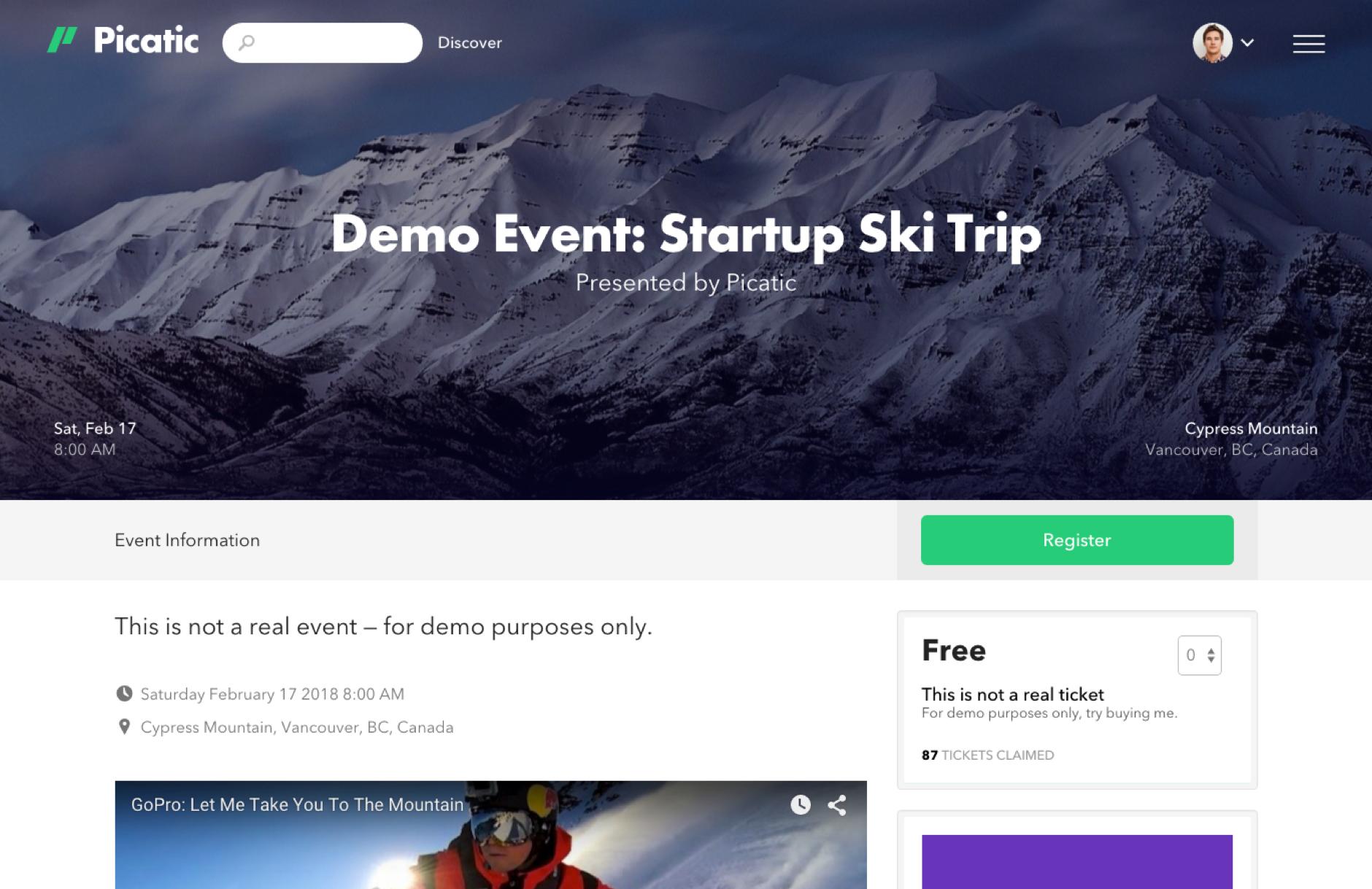 Custom event page
