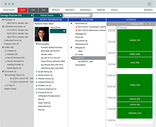 View patient information and the appointments booked with ChartLogic