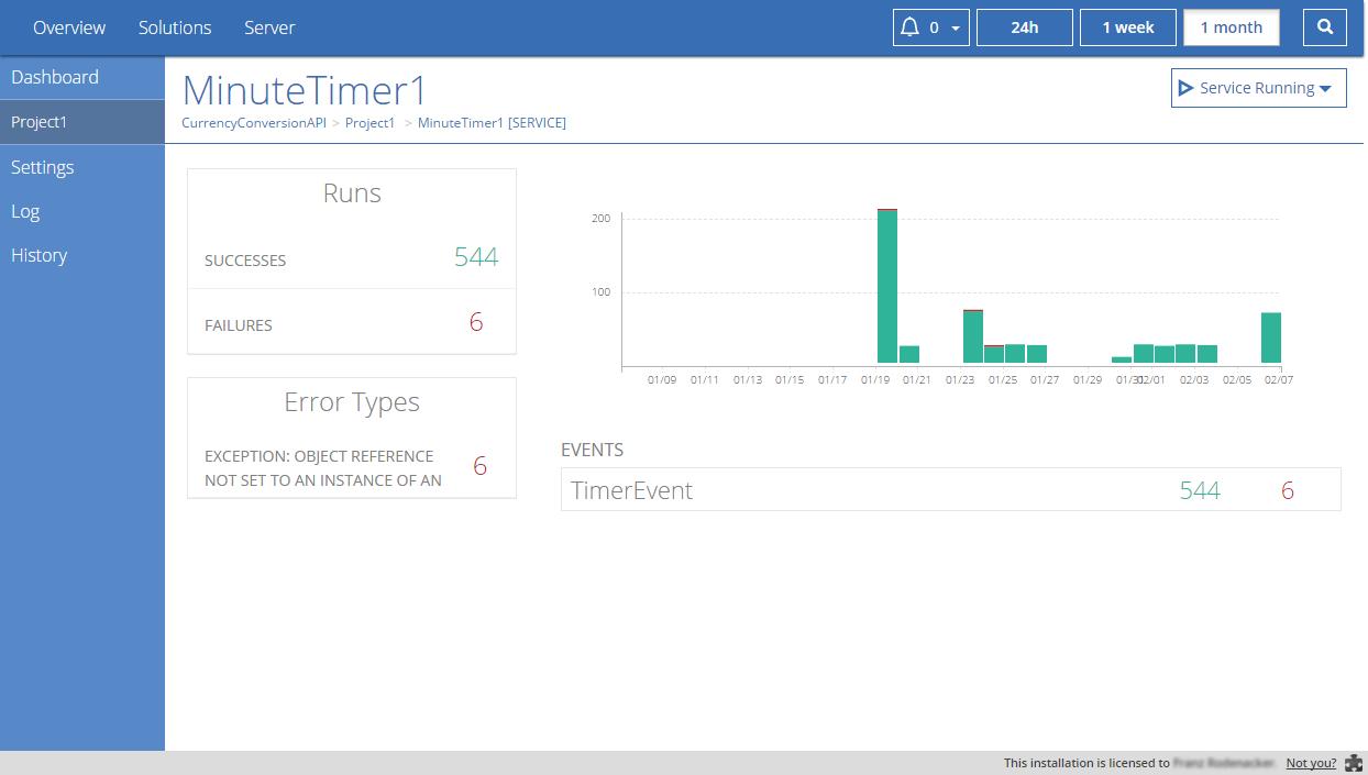 Linx Software - Minute timer runs