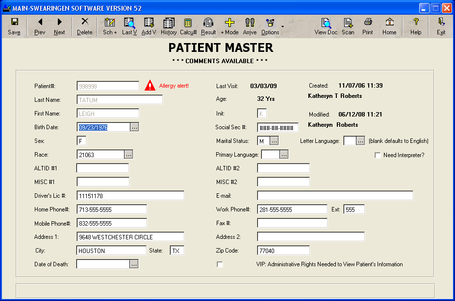 RISynergy Software - Patient Master