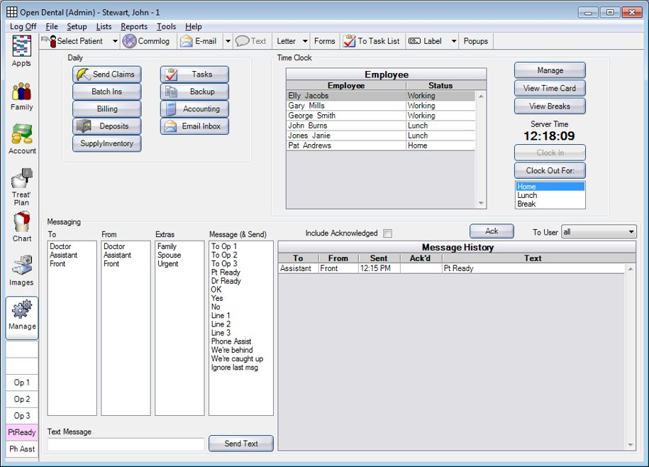 Open Dental Software - Manage functions