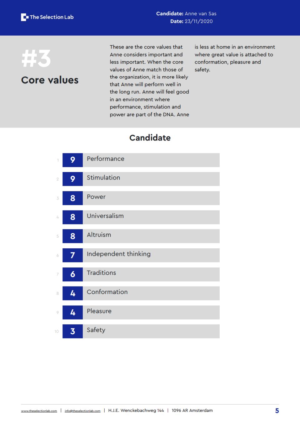 Core values section
