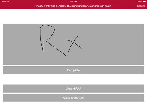 PrimeCare includes a signature capture app for iPad
