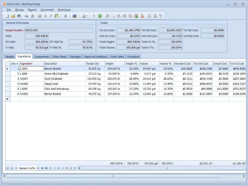 Mar-Kov Chemical Management System Software - Recipe