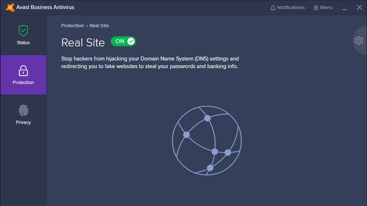 Avast Business Antivirus site protection