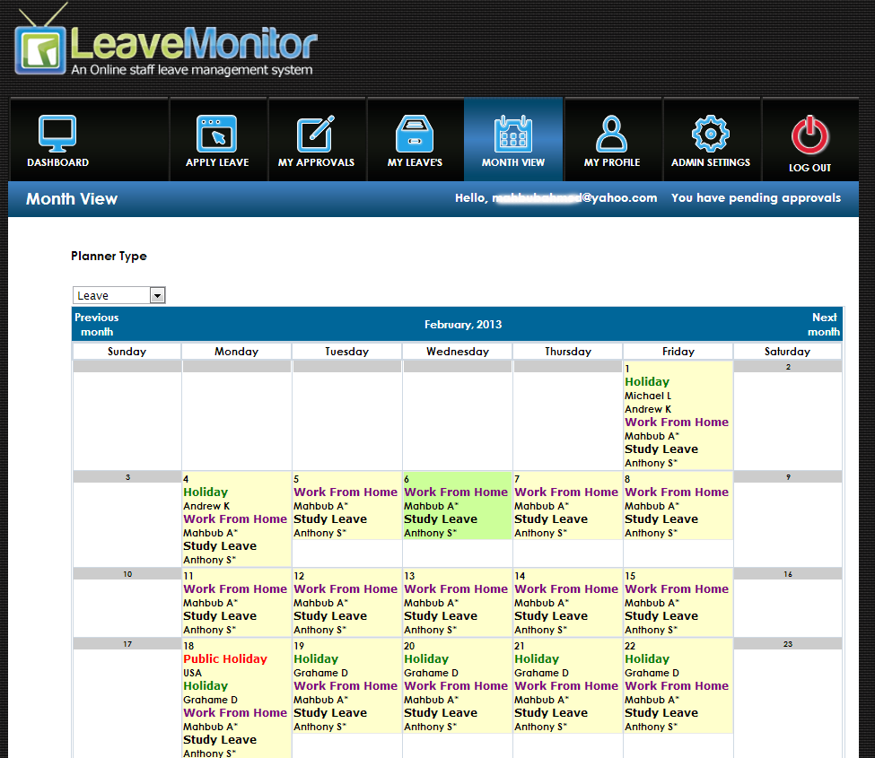 LeaveMonitor Software - Month view
