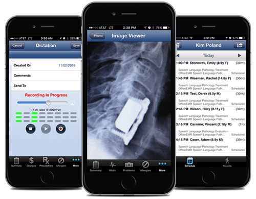 The iPhone app offers dictation, mobile imaging and calendar view