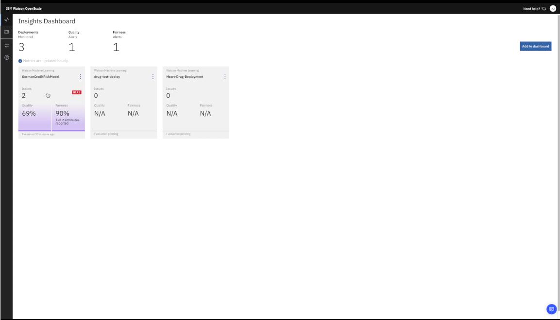 IBM Watson OpenScale insights dashboard