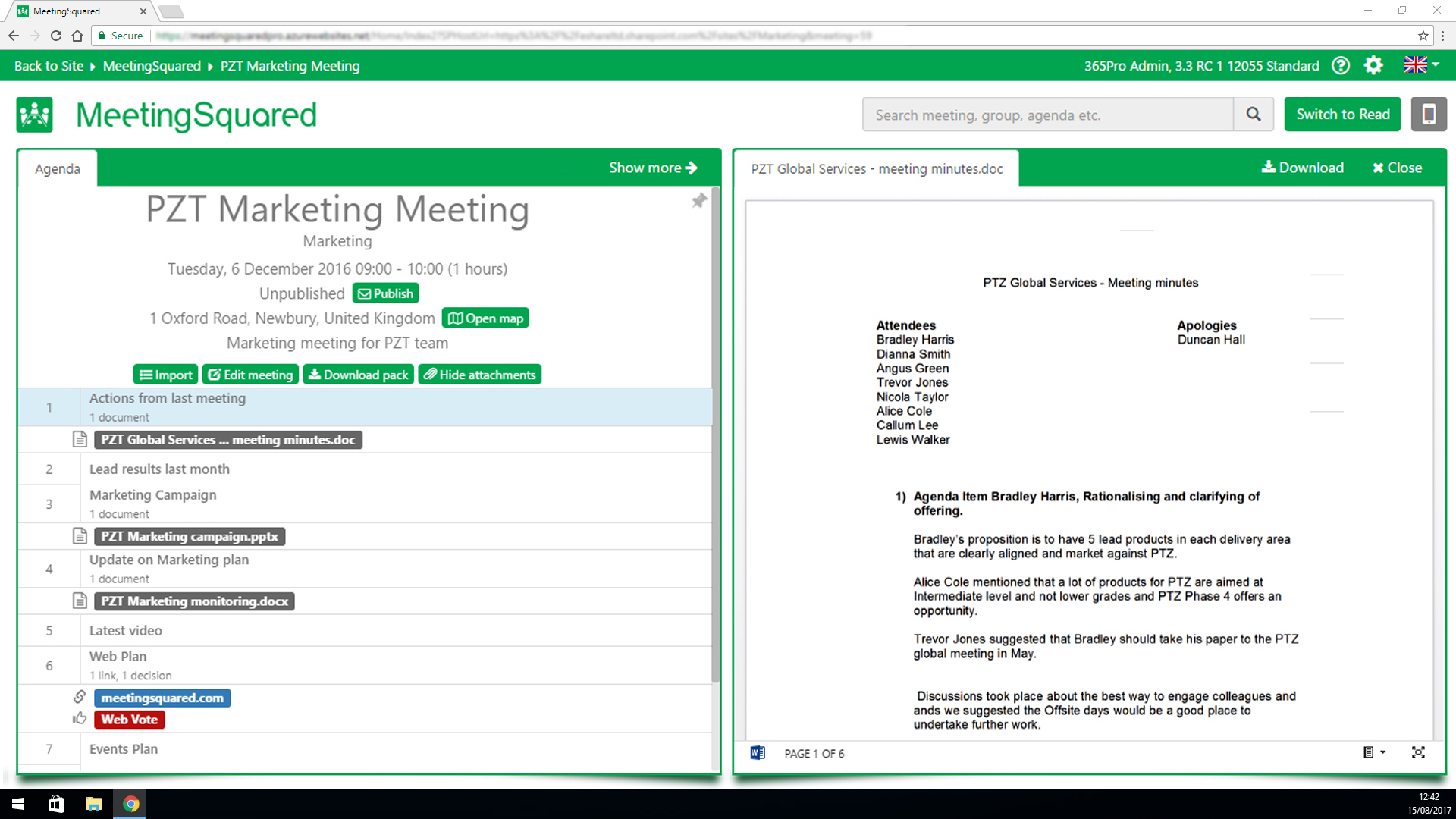 View meeting minutes