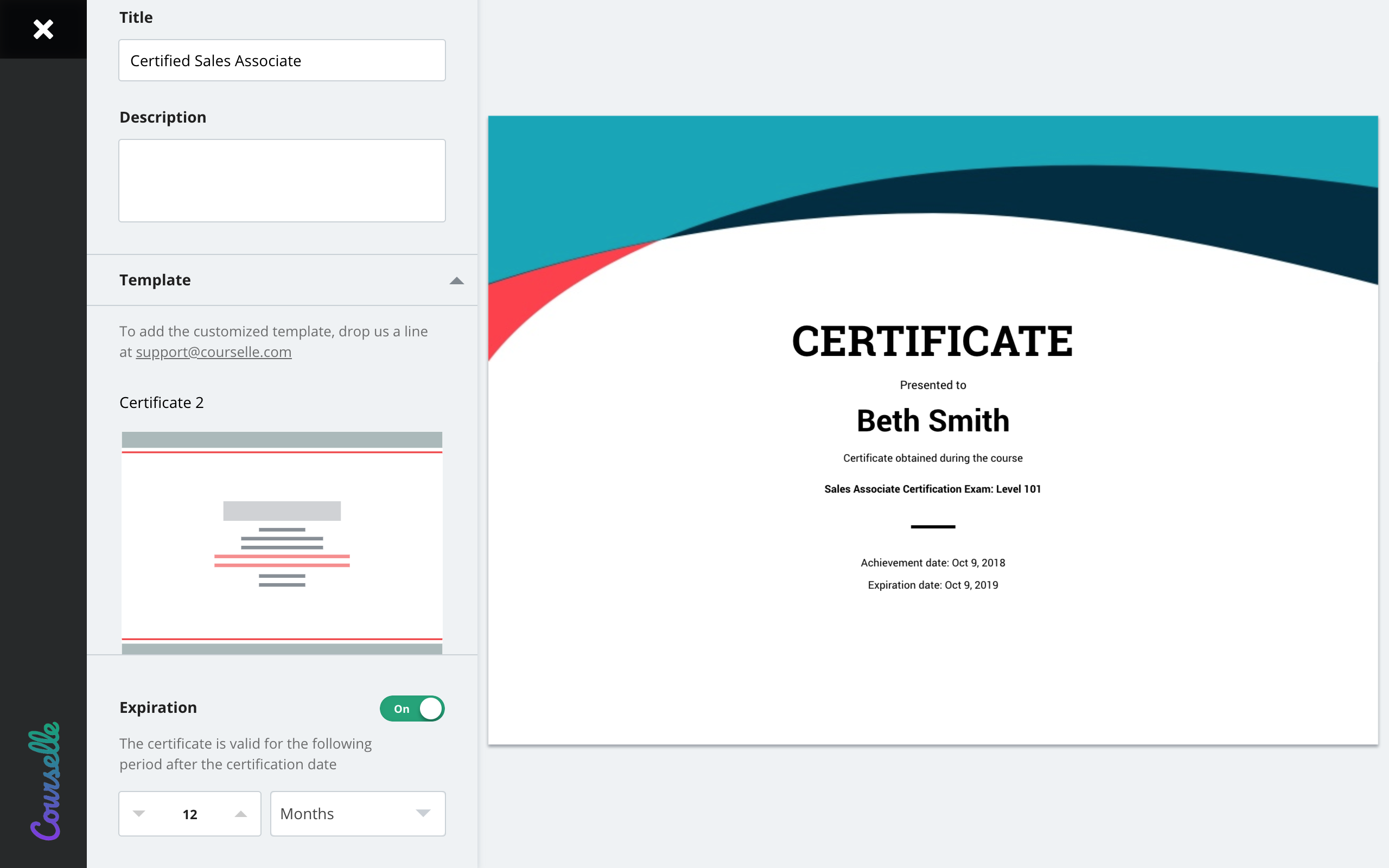 Geenio Software - Add certificates to your courses