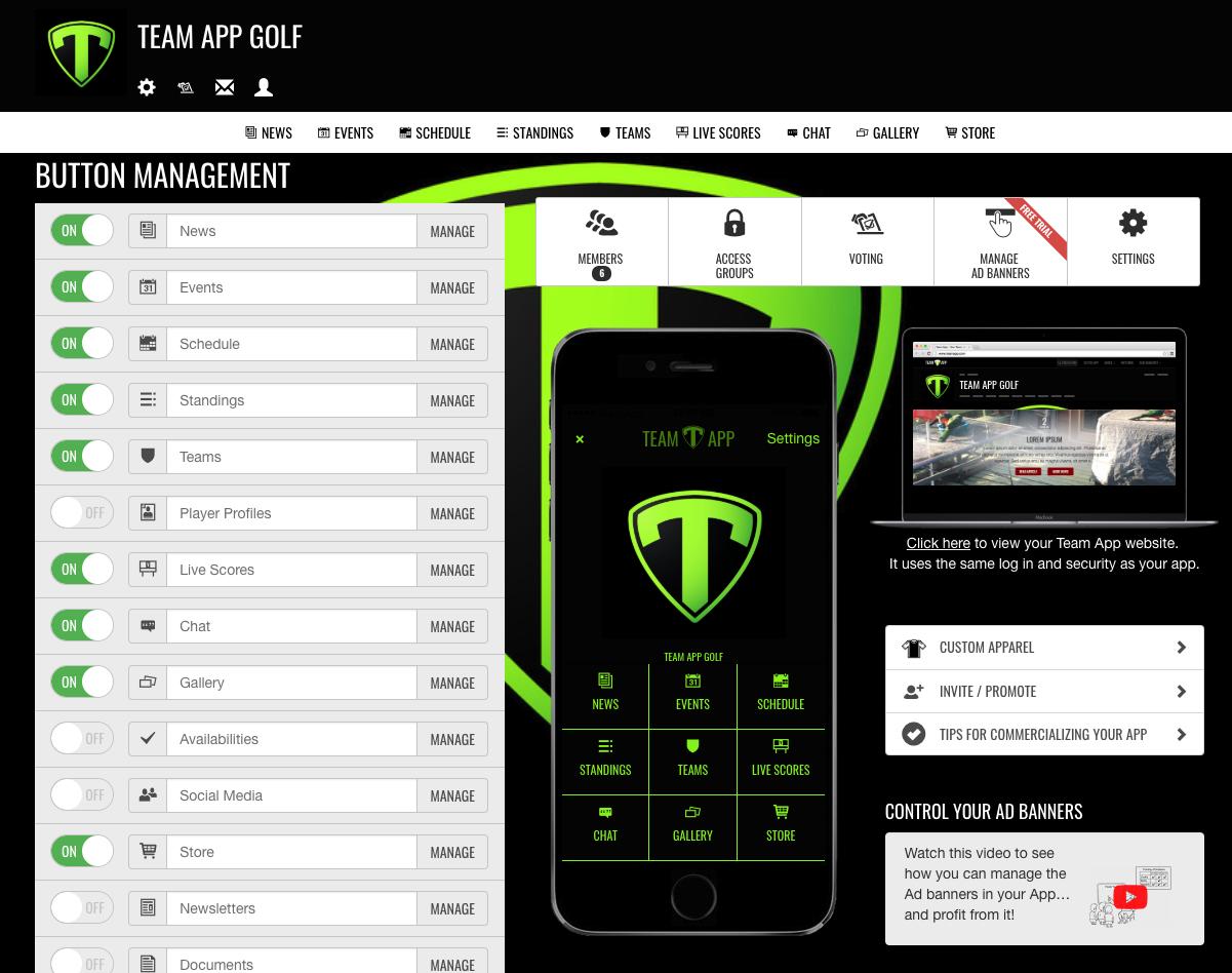 Team App button management