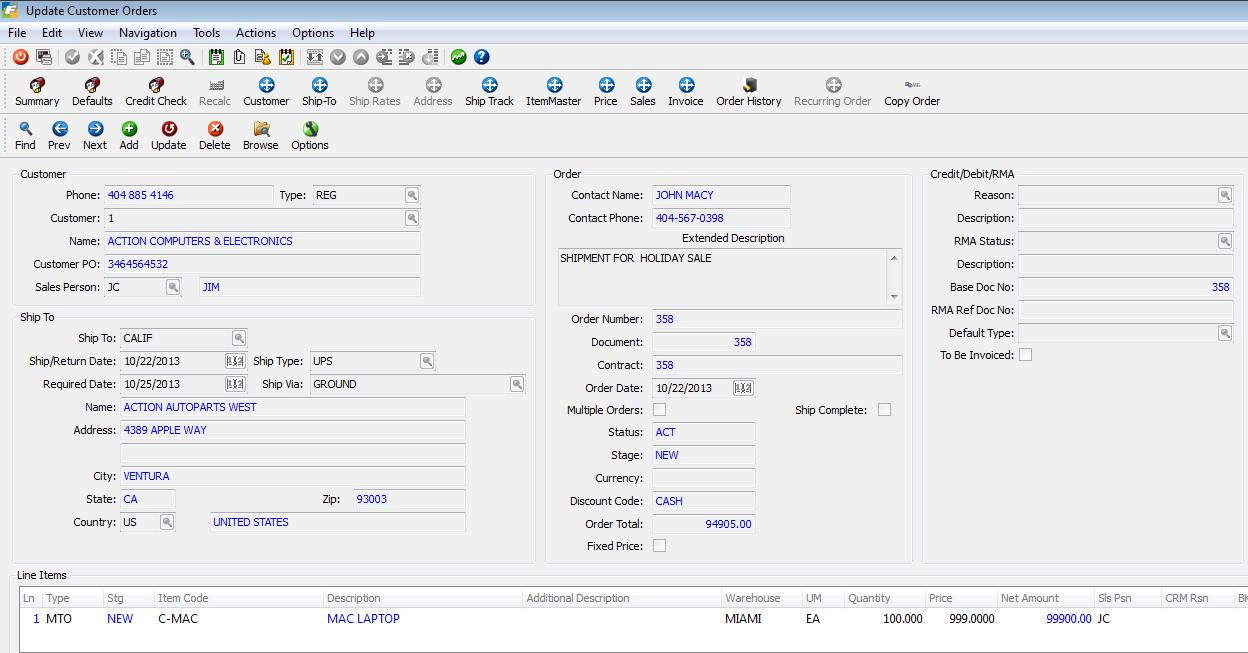 Fitrix ERP Software - Sales Order Entry