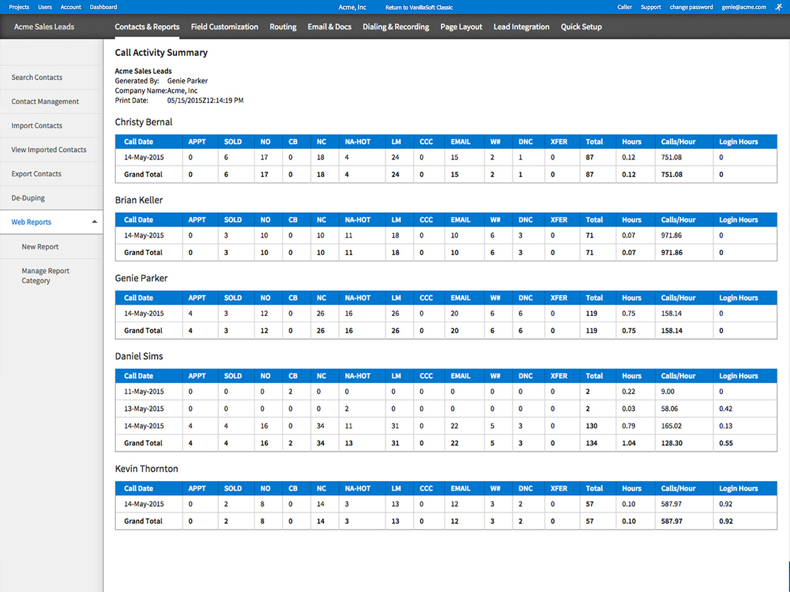 VanillaSoft Software - Contacts and Reports