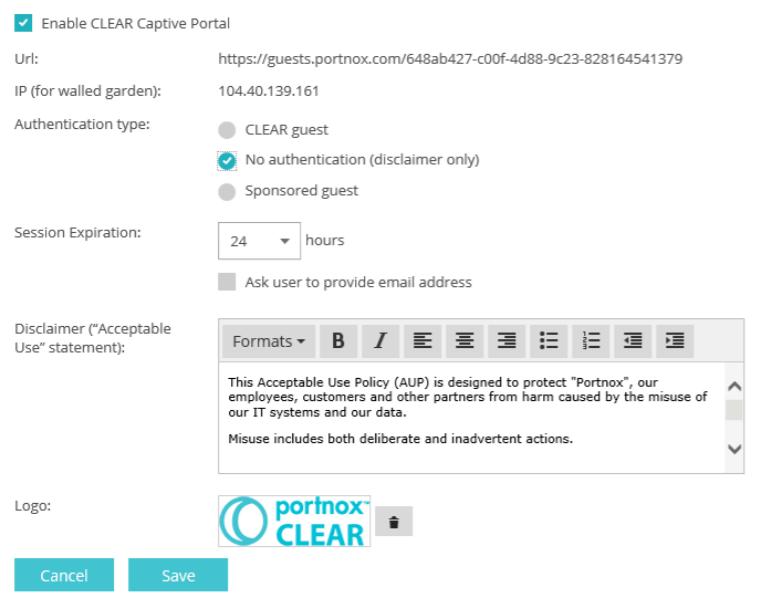 Portnox CLEAR guest access