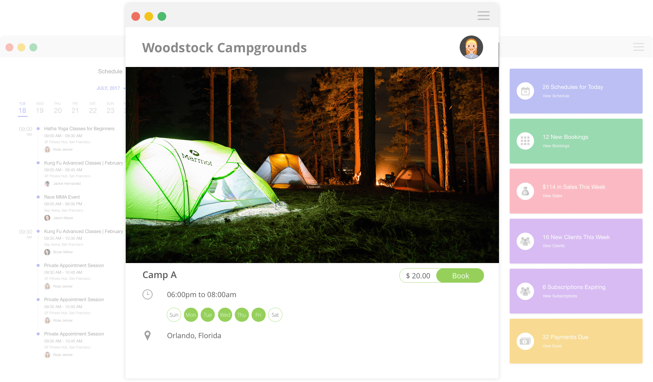 Omnify campground reservation screenshot