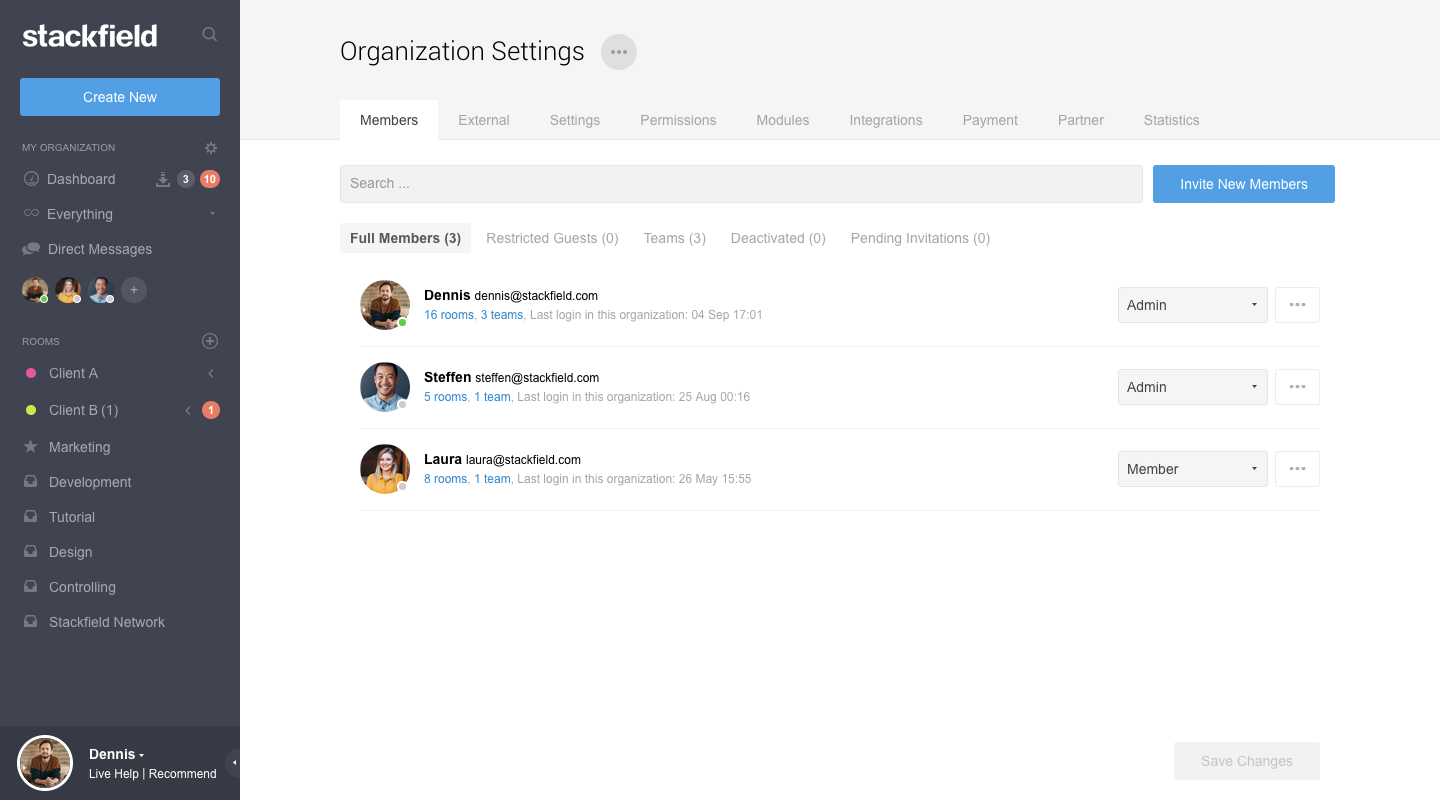 Organization settings: adapt Stackfield to comapany and compliance guidelines
