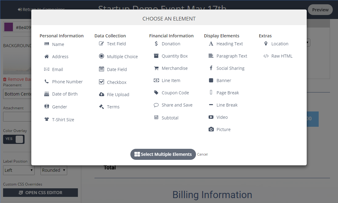 Users can customize multiple fields on their ticketing pages with TicketSpice